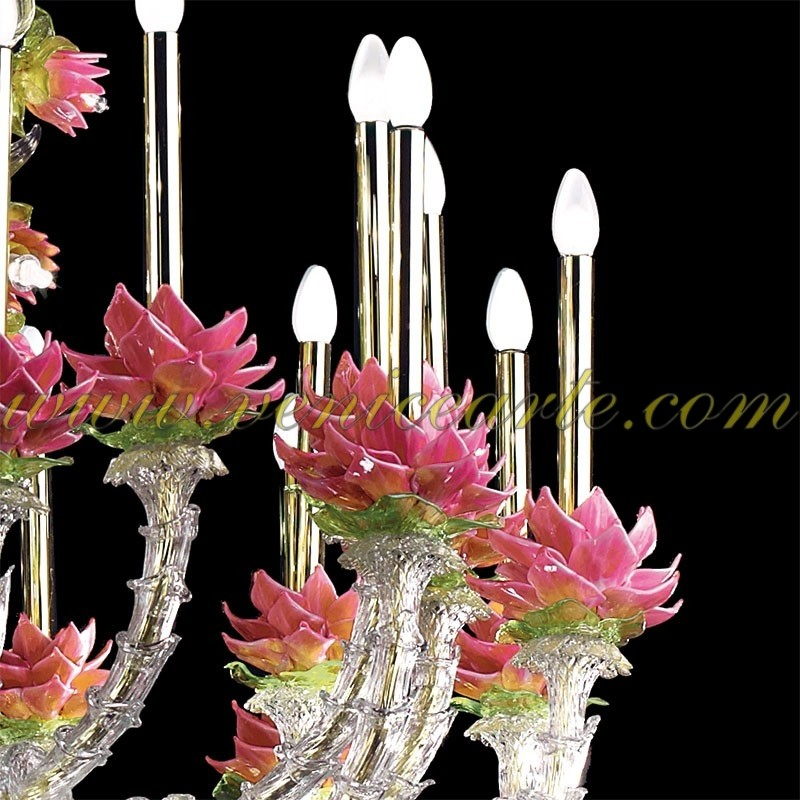 fleurs de lotus lustre en verre de murano rezzonico. Black Bedroom Furniture Sets. Home Design Ideas