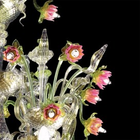 Lotus flowers - Murano glass chandelier Rezzonico detail