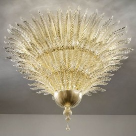 Golden leaves - Murano glass chandelier