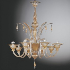 Barchessa - Murano chandelier Barchessa 8 lights Clear/Gold