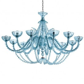 Murano chandelier Rezzonico Queen 12 lights Aquamarine