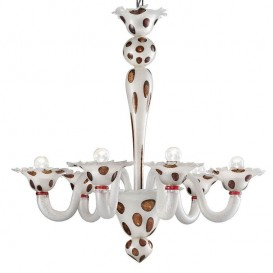 Arlecchino - Murano chandelier 6 lights White-silver Red Spots