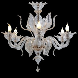 Elisir - Murano glass chandelier 6 lights Crystal Gold