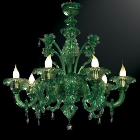 Grimani - Murano chandelier 6 lights All Green