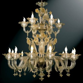 Gritti - Murano glass chandelier 18 lights Crystal Gold