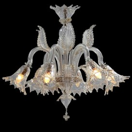 Scalzi - Murano chandelier 6 lights Crystal Gold