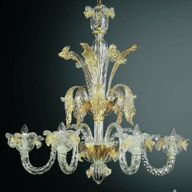 Doge - Murano chandelier 6 lights Crystal Gold