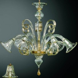 Gondola - Murano chandelier 6 lights Crystal Pink Gold