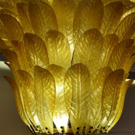 1.000 Golden leaves - Murano glass chandelier