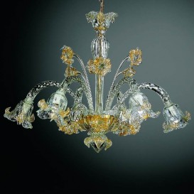 Laguna - Murano chandelier 6 lights Crystal Gold