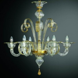 San Marco - Murano glass chandelier 6 lights Crystal Gold