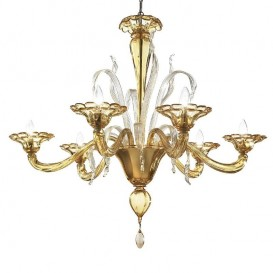 Squero - Murano chandelier 6 lights All Amber