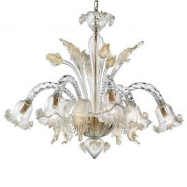Tintoretto - Murano chandelier 6 lights Crystal Gold