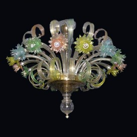 Colorful Daisies - Murano chandelier 16 lights