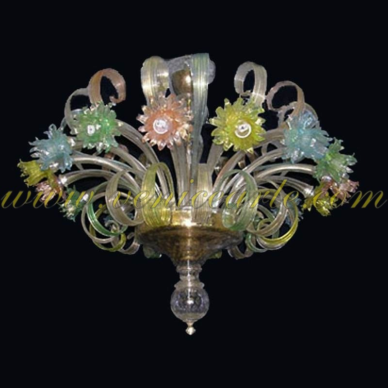 Colorful Daisies - Murano glass chandelier - The Best Murano Glass Chandeliers Online - Venice Arte