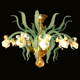 White Iris 12 lights - Murano ceiling lamp