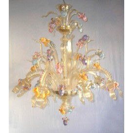 Iris Gold 6 lights - Murano glass chandelier
