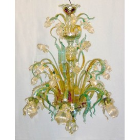 Iris green-gold - Murano chandelier 8 lights