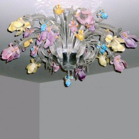 Iris multicolor 12 lights - Murano ceiling lamp