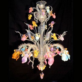 Iris multicolor 8 lights - Murano chandelier