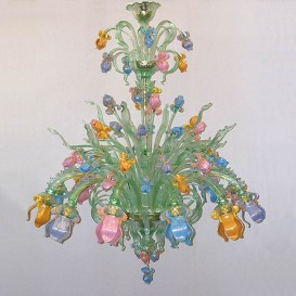 Iris delicate green - Murano glass chandelier 12 lights