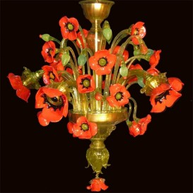 Poppies - Murano chandelier 5 lights