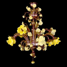 Garden of yellow roses 9 lights - Murano chandelier