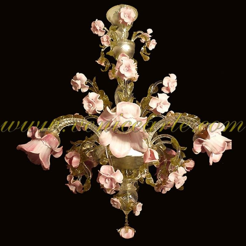 Garden of pink roses murano glass chandelier pink roses murano glass chandelier garden aloadofball Images