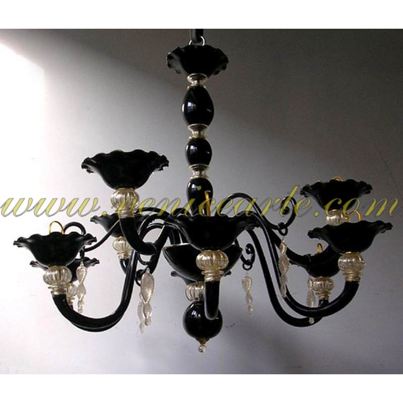 perles noires lustre en verre de murano. Black Bedroom Furniture Sets. Home Design Ideas