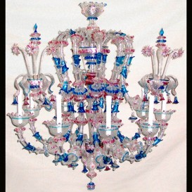 Octopus - Murano glass chandelier Rezzonico 9 lights
