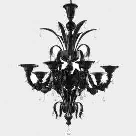 Murano chandelier London 8 lights Black