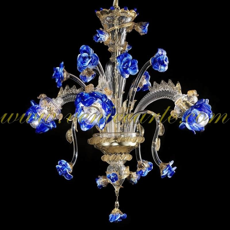 Garden Of Blue Roses Murano Glass Chandelier