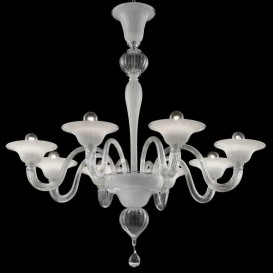 Ca' Foscari - Murano glass chandelier 8 lights Crystal White-silver