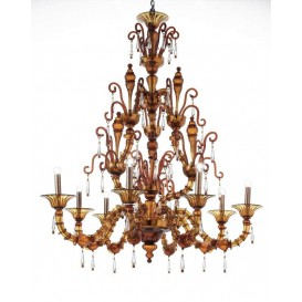Murano glass chandelier Rezzonico Barcellona 8 lights