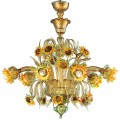 Sunflowers amber-green - Murano glass chandelier