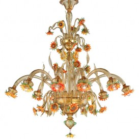 Sunflowers amber 10 lights - Murano glass chandelier