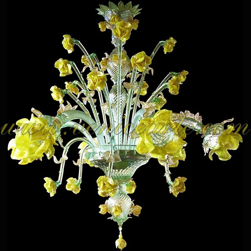 Flowers and fruits murano glass chandeliers venice arte murano chandelier yellow roses 6 lights aloadofball Image collections