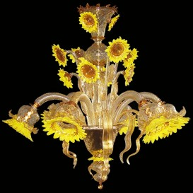 Sunflowers Yellow Crystal Gold 6 lights - Murano Chandelier