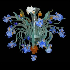Iris purple - Murano glass Ceiling light 18 lights