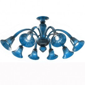 Frari - Murano chandelier 8 lights All Aquamarine