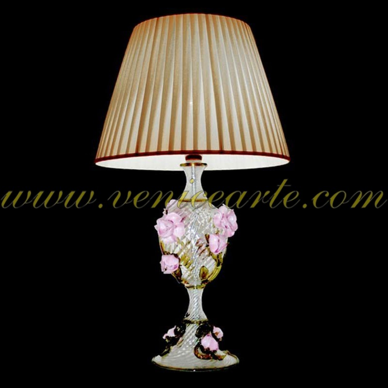 lampe de table en verre de murano roses. Black Bedroom Furniture Sets. Home Design Ideas