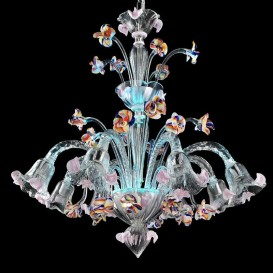 La Fenice - Murano chandelier 8 lights Crystal Polychrome Sky Blue led