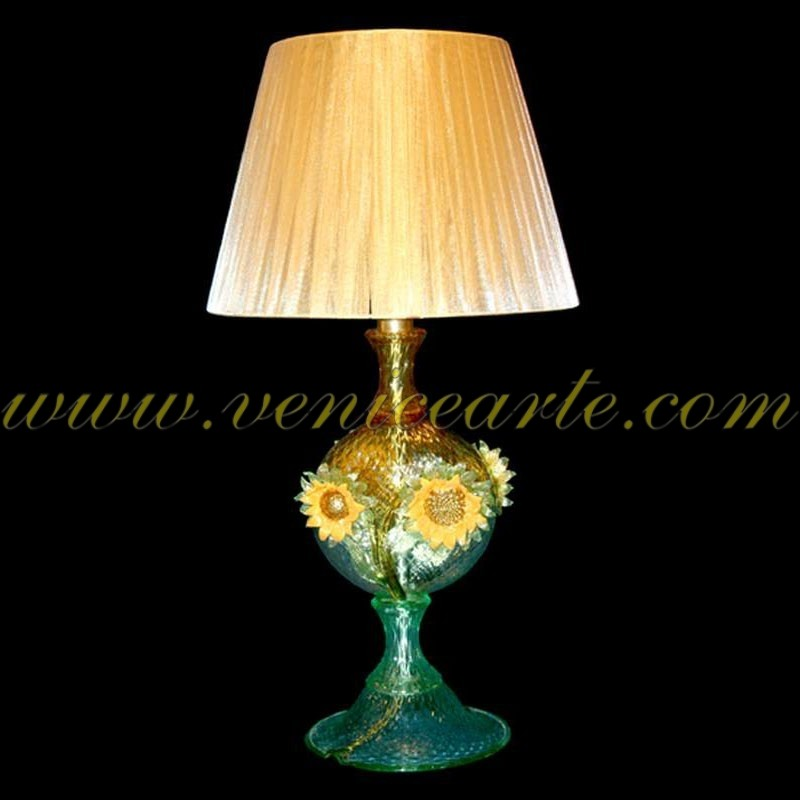 lampe de table en verre de murano tournesols. Black Bedroom Furniture Sets. Home Design Ideas