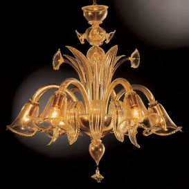 Mida - Murano chandeliers 6 lights All Gold Dust
