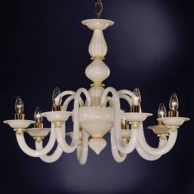 Murano glass chandelier White Milk 8 lights