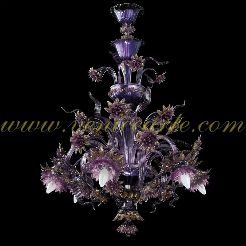 Purple flowers murano glass chandelier purple mozeypictures Images