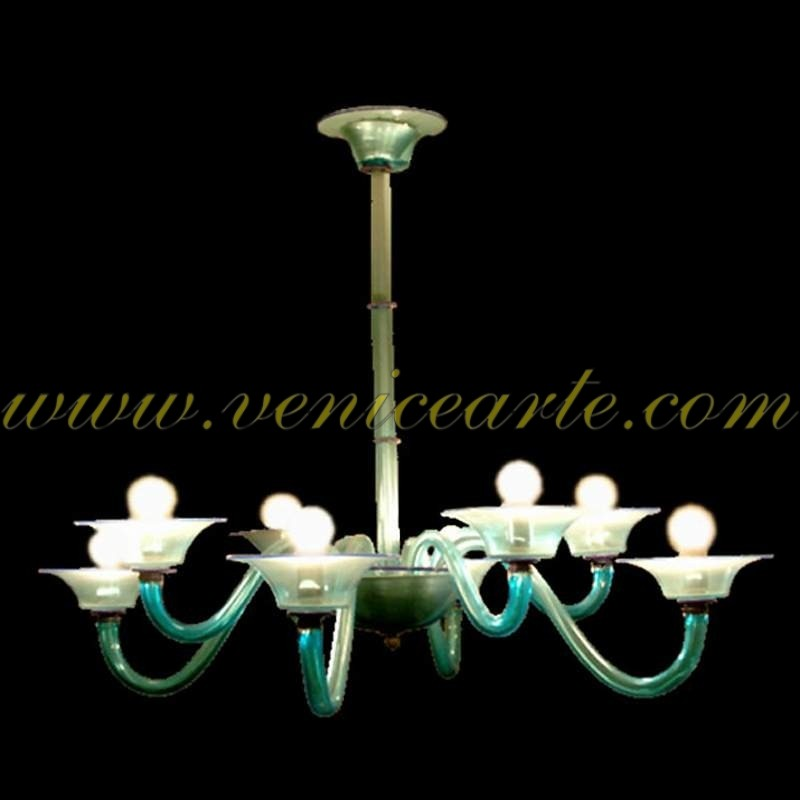lustre en verre de murano acquamarina. Black Bedroom Furniture Sets. Home Design Ideas