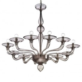 Morosini - Murano glass chandelier 12 lights Smoke