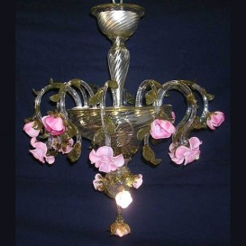 Rosebuds 6 lights - Murano glass chandelier
