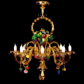 Basket of fruits - Murano glass chandelier